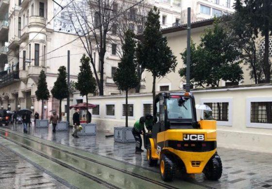 İstiklal Caddesi Saksı Ağaçla Yeşillendirildi