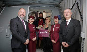 İstanbul SAbiha Gökçen Havalimanı Qatar Airways'in  1 Milyon'uncu Yolcusunu Özel Bir Törenle Karşıladı